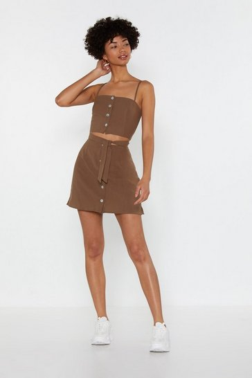 Womens Khaki Don't Back Button-Down Linen Mini Skirt