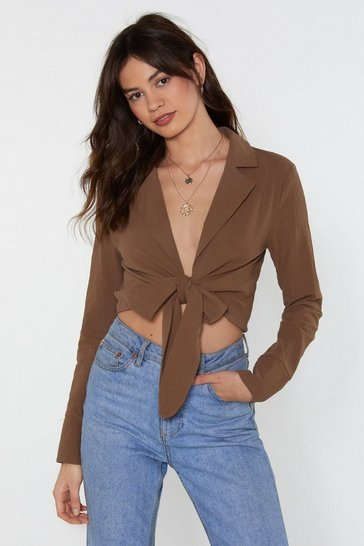 Womens Khaki Linen Your Pockets Cropped Tie Shirt