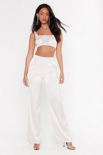 Oyster I'm Satin the Mood Wide-Leg Pants