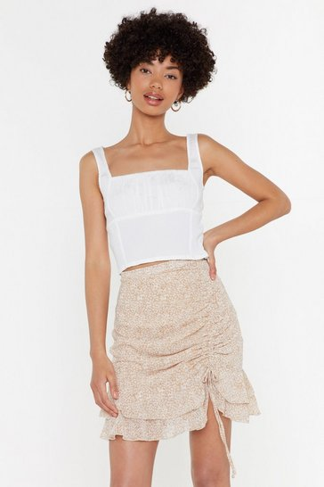 Womens White Stop in Crinkle Crop Top