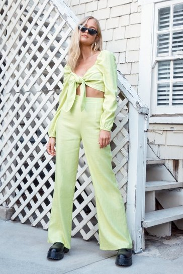 Womens Lemon Heads You Linen Wide-Leg Trousers