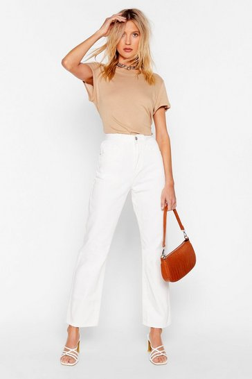 White Zoe Cropped Straight Leg Jeans