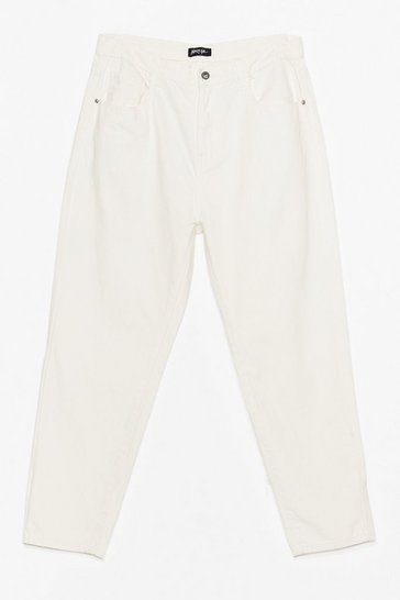 Womens White Debbie High-Waisted Mom Jeans