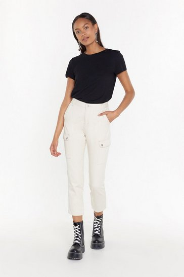 Womens Ecru How Are Utility Mom Jeans