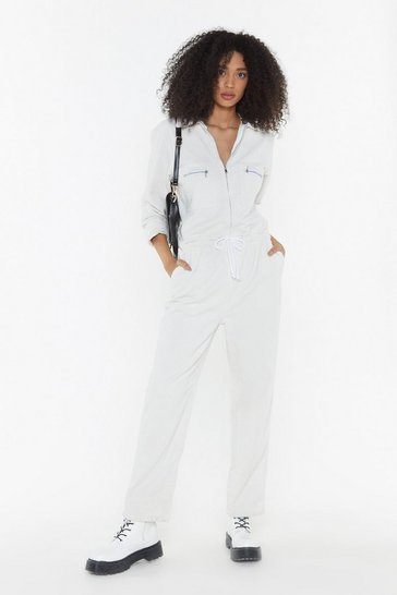 Womens Ecru Break the Record-uroy Drawstring Boilersuit