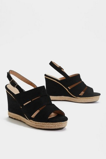 Womens Black Immi Cut Out Wedges