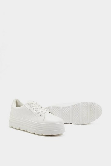 Womens White Quilt in Sass Platform Trainers