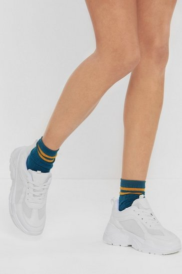 Womens White Run With It Mesh Chunky Sneaker