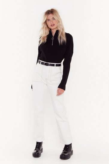 White Thank You Stitch Straight-Leg Jeans