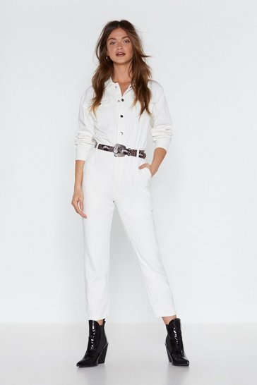 Womens White Take a Disco Snap Denim Boilersuit