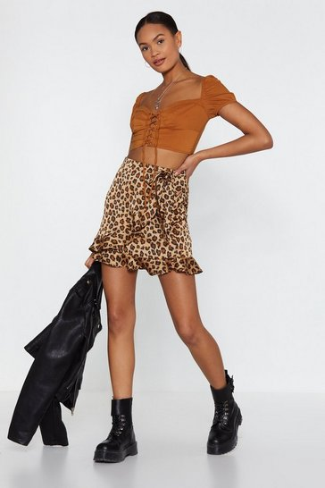 Womens Tan Leopard Ruffle Wrap Mini Skirt