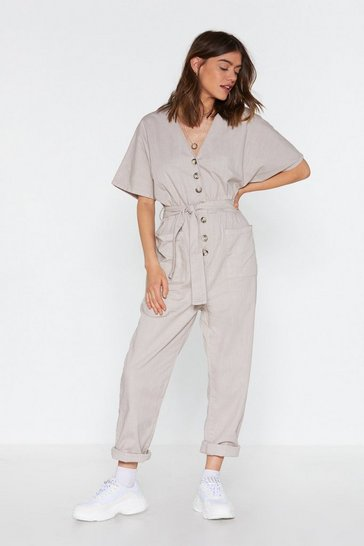 Womens Beige Linen Button Front Jumpsuit