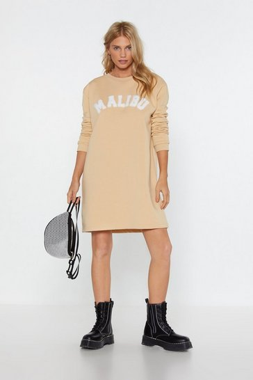 Womens Stone Drinks in Malibu Graphic Sweatshirt Dress