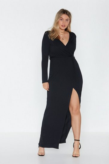 Womens Black It's a Wrap Ribbed Midi Dress