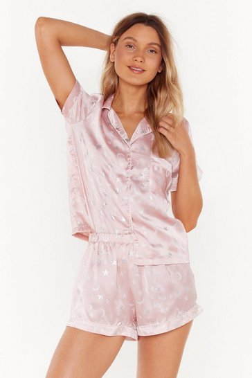 Womens Pink Sing Me a Lullaby Plus Satin Pyjama Set