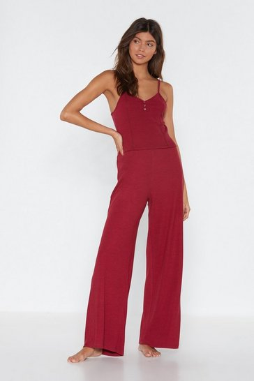 Womens Berry Bedding Home Vest Top and Wide-Leg Trousers Lounge Set