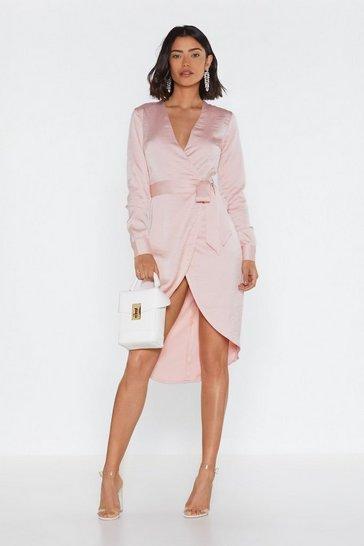 Nude Shine on Me Satin Midi Dress