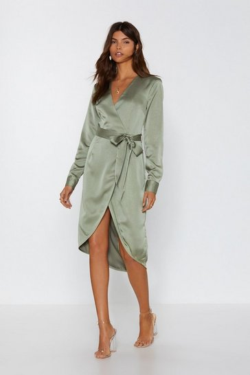 Sage Shine on Me Satin Midi Dress