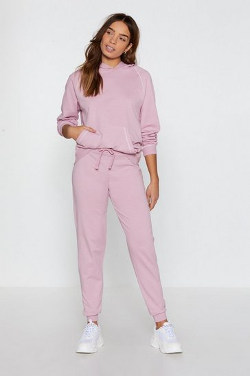 Womens Dusky pink Life in the Contrast Lane Stitch Joggers