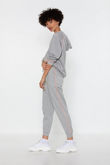 Womens Grey marl Life in the Contrast Lane Stitch Joggers