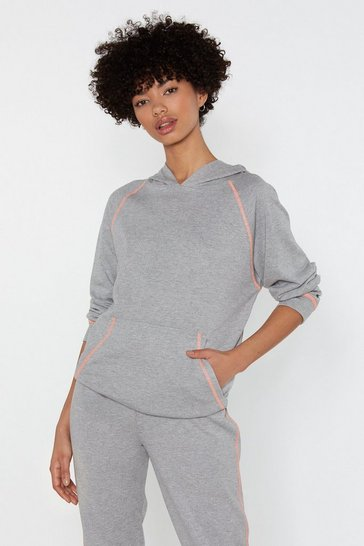 Womens Grey marl I Suppose Sew Stitch Relaxed Hoodie