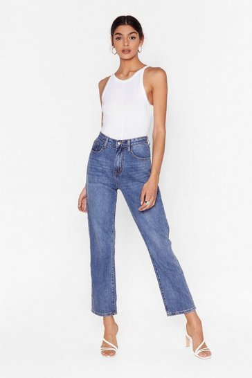 Mid blue Zoe Cropped Straight Jeans