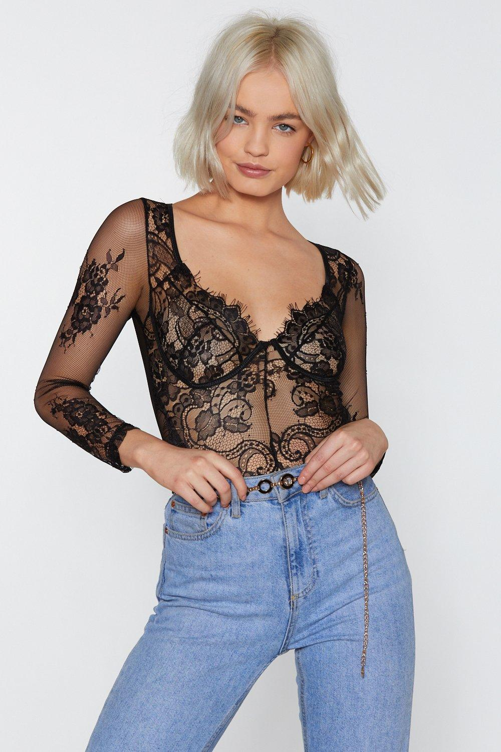 A Long Those Lines Lace Bodysuit by Nasty Gal