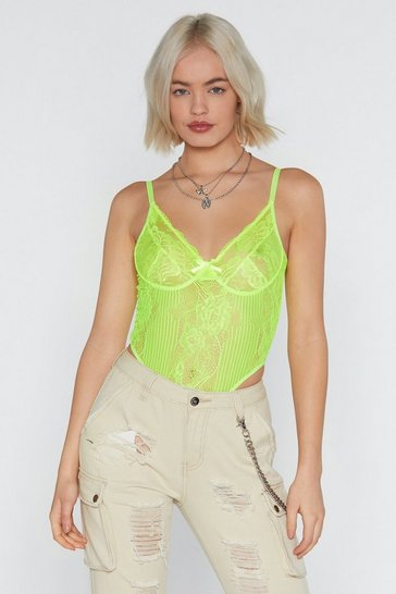 Womens Lime Lace Orders Neon Cupped Bodysuit