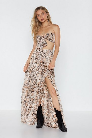 Womens Taupe Snake-ing the Big Bucks Bandeau Top and Maxi Skirt Set