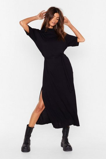 Black Tee BT Belted Midi Dress