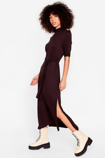 Chocolate Belted Short Sleeve Midi Dress