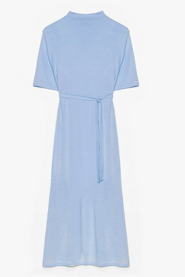 Pale blue Tee BT Belted Midi Dress