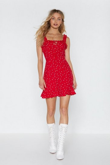 Red The Way to My Heart Ruffle Dress