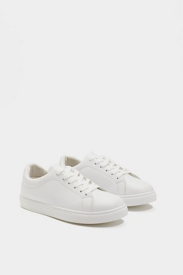 White Faux Leather Lace-Up Sneakers with Flat Sole