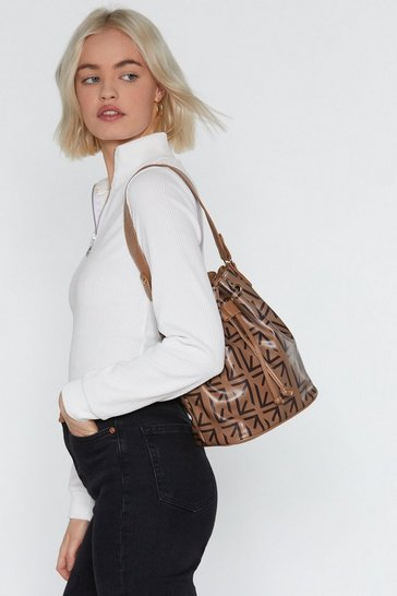 Womens Tan WANT Print in Your Eyes Bucket Bag