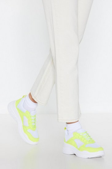 Womens White I'm Neon It Chunky Trainers