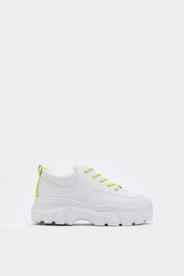 Womens Yellow Highlight the Points Chunky Platform Sneakers