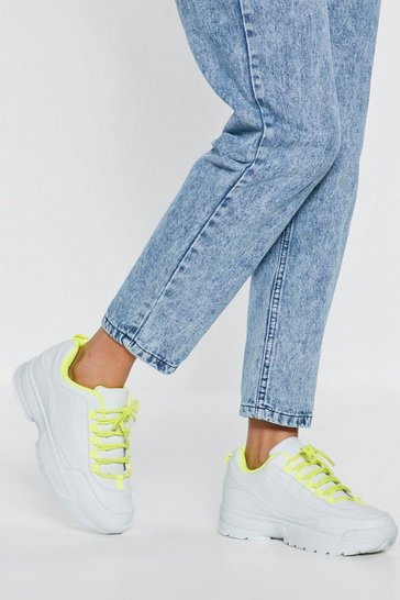 Womens Yellow Bring to Light Faux Leather Trainers