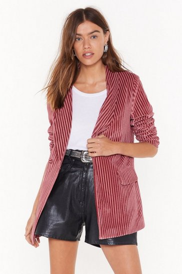 Womens Pink Say It Stripe Velvet Striped Blazer