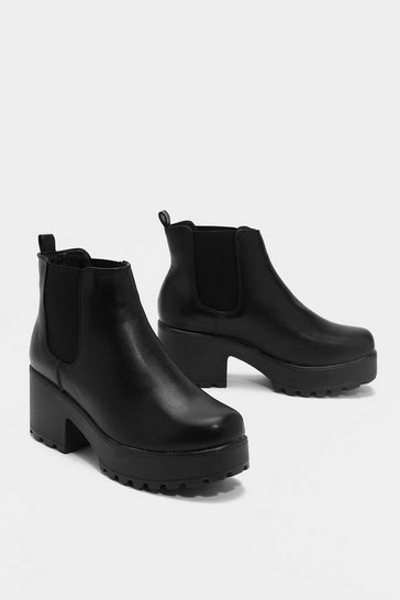 Black Faux Leather Platform Ankle Boot with Block Heel