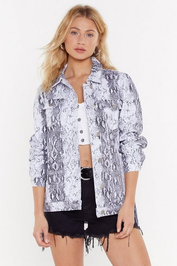 Womens White Just Snake It Off Denim Jacket