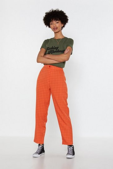 Womens Orange What's the Square Root Check Tapered Pants