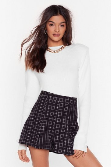 Womens Black It's a Fine Line Check Pleated Shorts