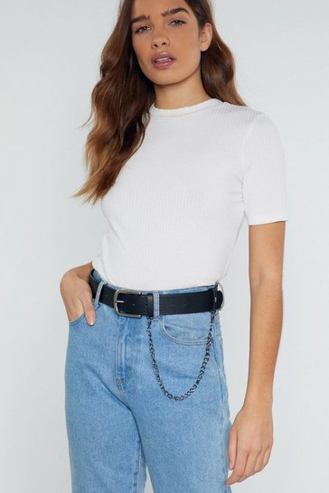 Black Faux Leather Belt with Curb Chain Detailing