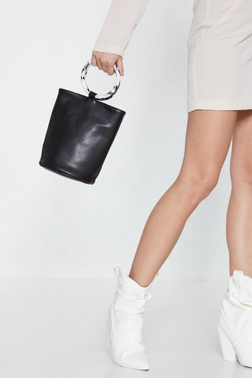 Womens Black WANT Really Resin-ates With Us Bucket Bag