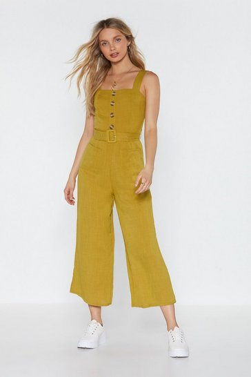 Womens Lime Bring It Button Linen Jumpsuit