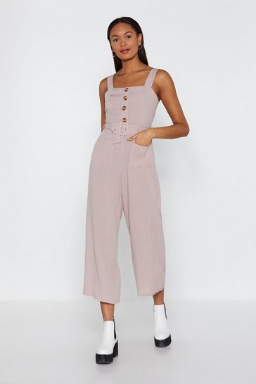 Womens Ecru Bring It Button Linen Jumpsuit