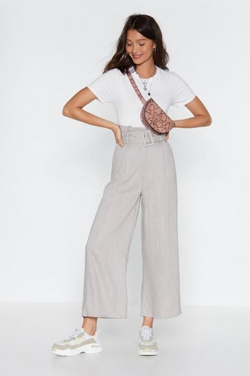 Womens Light grey Belted Wide Leg Trousers