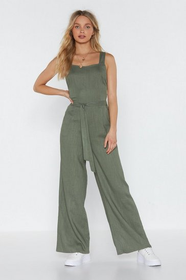 Womens Khaki Cross Strap Jumpsuit