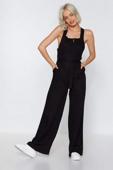 Womens Black Jump the Queue Wide-Leg Jumpsuit